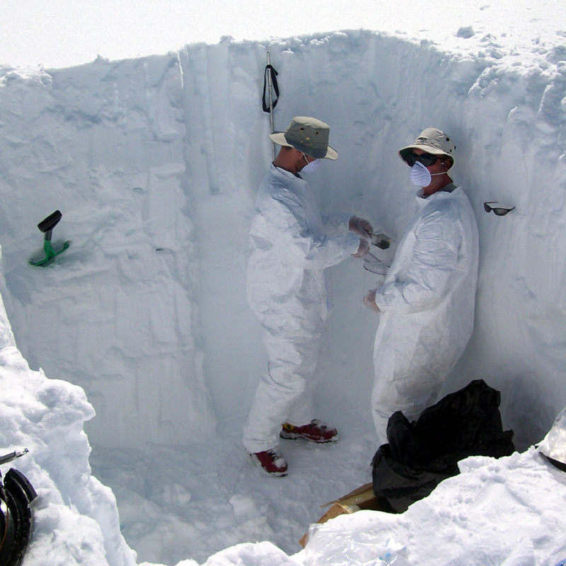 Researchers sampling in the Arctic