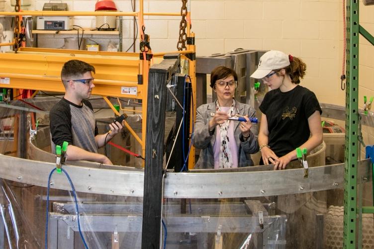 Professor Nancy Kinner with students.