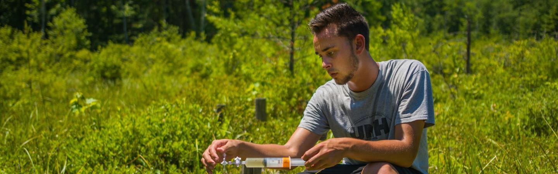 Student doing nitrogen testing.