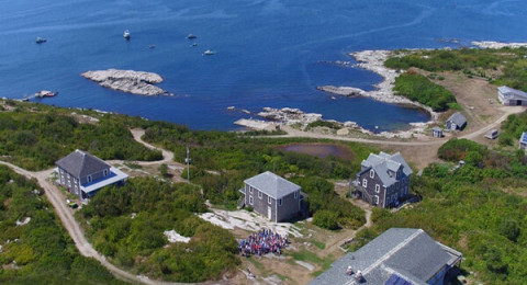 An aerial view of the Shoals Marine Lab on Appledore Island.