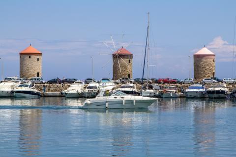 Harbor in Rhodes Greece